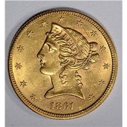 1861 $5 GOLD LIBERTY HEAD  GEM BU