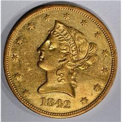 1842 $10 LARGE DATE LIBERTY HEAD BU