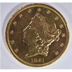 1861 $20 GOLD LIBERTY HEAD  CH BU