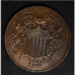1871 TWO CENT PIECE, AU SCARCE