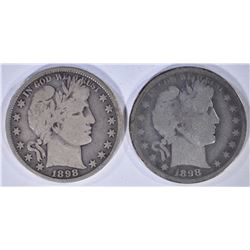 1898 VG & 1898-S GOOD BARBER HALF DOLLARS