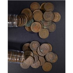 1898 & 1899 CIRC INDIAN CENT ROLLS 100-COINS TOTA