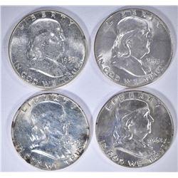 1953, 55, 58-D & 62-D BU FRANKLIN HALF DOLLARS