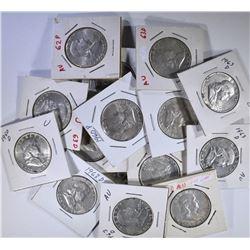 17-FRANKLIN HALF DOLLARS AU VARIOUS DATES MOSTLY 1