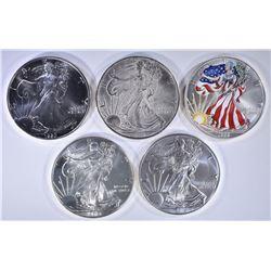 5-AMERICAN SILVER EAGLE ONE OUNCE COINS, BU