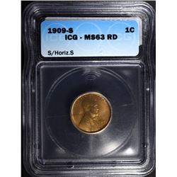1909-S/HORIZ S LINCOLN CENT ICG MS-63 RD