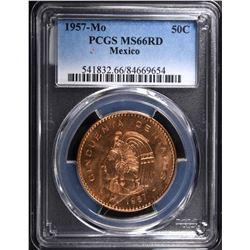 1957 MEXICO 50 CENTAVOS PCGS MS66RD