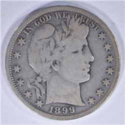 1899-S BARBER HALF DOLLAR, VG/FINE