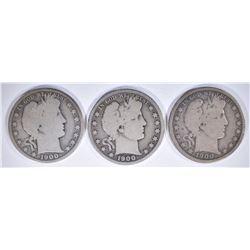 1900 G, 1900-O & 1900-S G/VG BARBER HALF DOLLARS