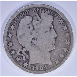 1904-S BARBER HALF DOLLAR, GOOD KEY DATE