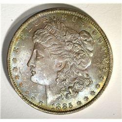 1885-O MORGAN DOLLAR, CH BU PRETTY COLOR OBV