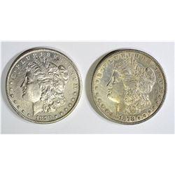 1878 7F AU & 1878-S BU MORGAN DOLLARS