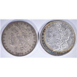 """1878 7F XF/AU & 1880 """"MICRO O"""" AU MORGAN DOLLARS"""