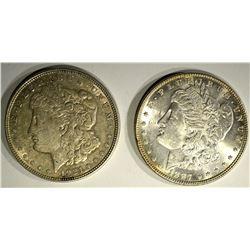 1887 CH BU  & 1921-D AU MORGAN SILVER DOLLARS