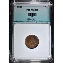1905 INDIAN CENT, EMGC GEM PROOF RB