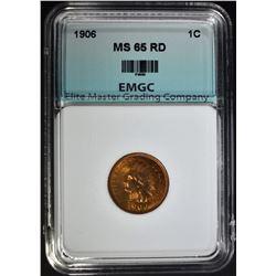 1906 INDIAN CENT, EMGC GEM BU RD