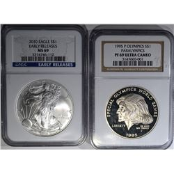 2 COIN LOT: 1995 PARALYMPICS SILVER DOLLAR
