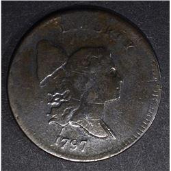 1797 HALF CENT 1 ABOVE 1  FINE