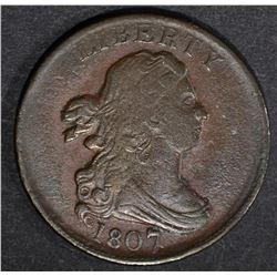 1807 DRAPED BUST HALF CENT  AU
