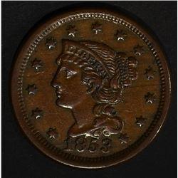 1853 LARGE CENT  AU