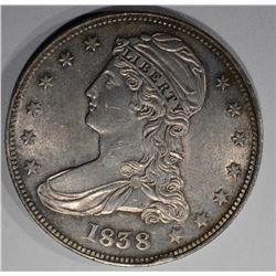 1838 REEDED EDGE CAPPED BUST HALF DOLLAR  CH BU