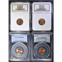 4  MS 67 RD LINCOLN CENTS: