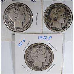 1901-O VG/F, 1909-S VG, 1912 VG/F