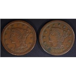 1848 & 53 LARGE CENTS, VF have a few marks