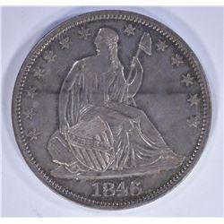 1846 SEATED HALF DOLLAR, CH AU NICE!!