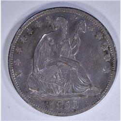 1850-O SEATED HALF DOLLAR, XF/AU