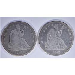 1875 & 76 SEATED HALF DOLLARS, G/VG