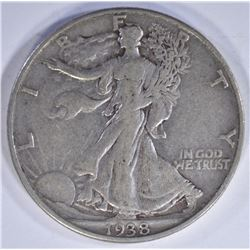 1938-D WALKING LIBERTY HALF DOLLAR, XF KEY DATE