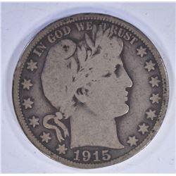 1915 BARBER HALF DOLLAR, VG