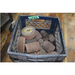 Tote of Various Grinding Stones