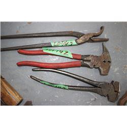 2 Fencing Tools & Farrier's Hoof Nail Bender