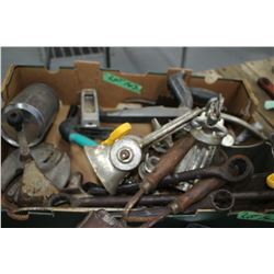 Box of Misc. Tools - Meat Grinders, Riveters, Clamps & Rasp