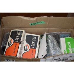 Box w/Lock Sets, Dead Bolt, Small Box Locks, Various Wallhanger Items