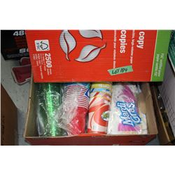 Box of Camping Cups, Napkins & Paper Plates