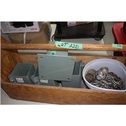 Wood Tool Box w/Bucket of Chain & 4 Bolt-on 4 x 4 Post Holders