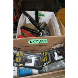 2 Metal Clamps; Criping Tool & a Box of Misc.
