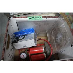 Box w/Drill Pump, Document Holder; Foot Pump & Rope Light