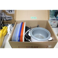 Box w/Tupperware, Electric Cooker, Round Baking Tins, etc.