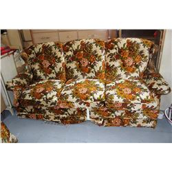 Sofa w/Fold Out Bed (Floral Pattern); Rocking Love Seat & Rocking Chair