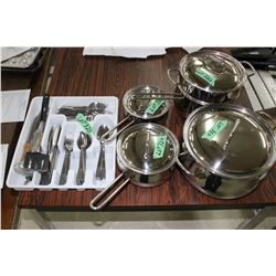 Set of Stainless Steel Lagostina Pots w/Lids (Includes Steamer) & Tray of Cutlery