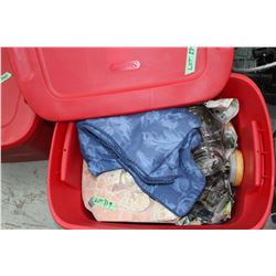 Red Tote & Lid w/2 Glass Cannisters, Blanket, Box in a Box in a Box