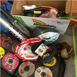 Box Lot: Baseball Bats, Gloves, Ball Thrower, CD Computer Games, etc