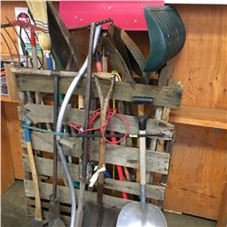 Vertical Pallet Lot: Long Handle Tools (Scythe, Shovels, Pitch Fork, etc)