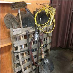 Vertical Pallet Lot: Long Handle Tools (Shovels, Crow Bar, Wood Saw, etc)