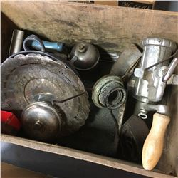 Wooden Crate Lot: Antique Items (Foot Warmer, Silver Tray, Meat Grinder, Coleman Iron, etc)