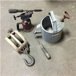 Watering Can, Pulley, Blow Torch